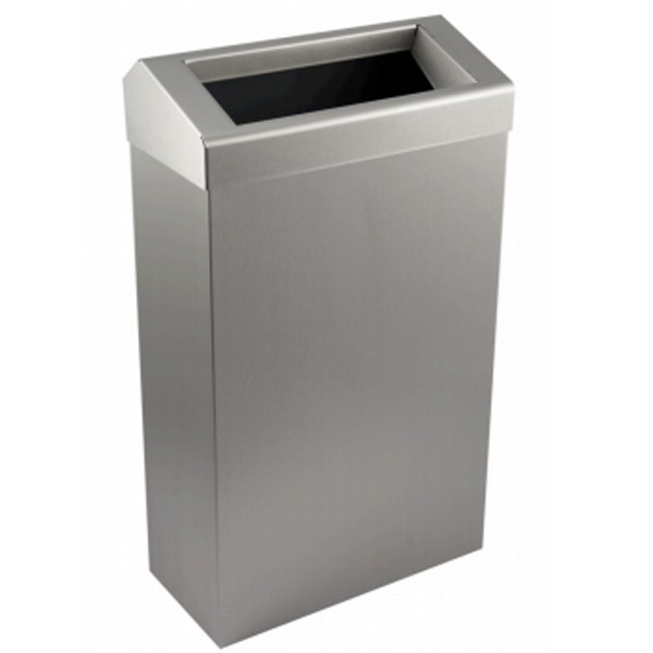 Enov Waste Bin Chuted Lid Brushed Stainless Steel 30 Litre